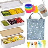 Bento Box Japanese Lunch Box Kit (16 PCS) 3-In-1 Compartment, Leak-proof Bento Lunch Box Meal Prep Containers with Utensils, Bento Boxes for Adults/Kids (Beige)