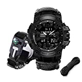 Juya Paracord Survival Bracelet Watch with Flint fire starter +Compass Thermometer +Whistle +Umbrella rope Digital Survival Watch Alarm Backlit Survival Gear for Hiking Camping First Aid Kit