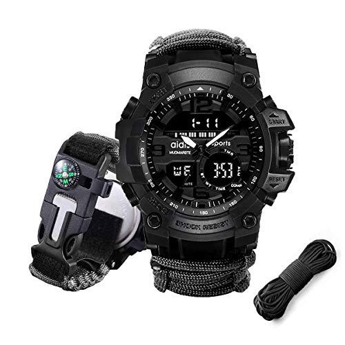 Juya Paracord Survival Bracelet Watch with Flint fire starter +Compass...