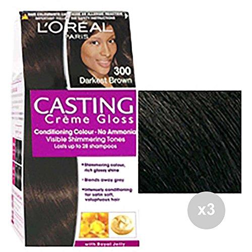 Casting Set van 3 crème gloss 300 donkerbruin gekleurd voor haar, meerkleurig
