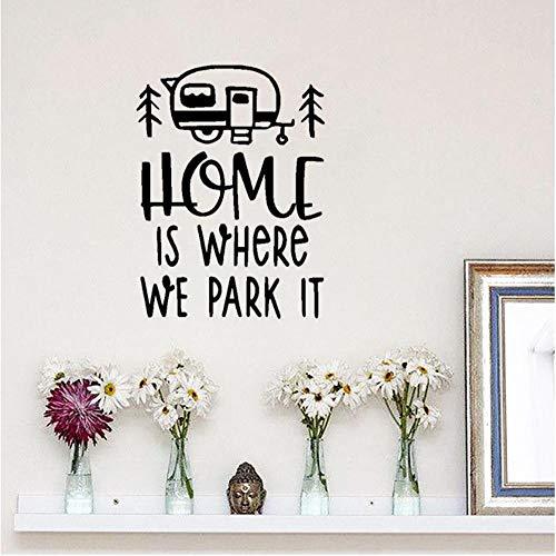 Home is Waar We Parkeren Het Quote Vinyl Muursticker Reizen Bus Stijl Muur Art Muurschildering Verwijderbare Huis Interieur Decor 42x57cm