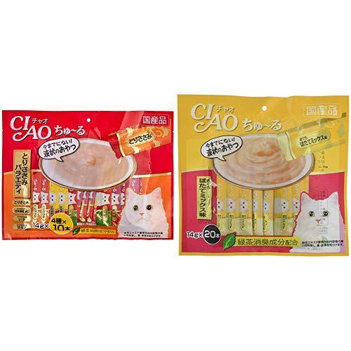(CIAO Cats) Churu Cat Snacks, Variety 0.5 oz (14 g) x 40 Sticks & (CIAO) Cat Treats, Churu Ru Tuna Hot Mix Flavor, 0.5 oz (14 g) x 20 Pieces