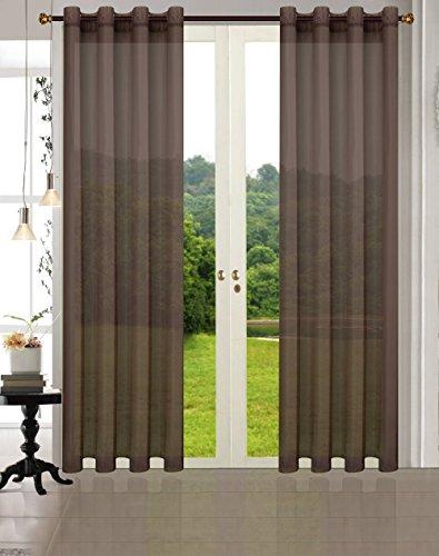 Uni -20332CN- 2er-Pack Braun Vorhang Transparent Gardinen Set Wohnzimmer Voile Vorhang Ösenvorhang HxB 245x140 cm mit Bleibandabschluß Braun