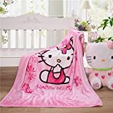Cartoon Blanket Hello Kitty Printing Throw Sherpa Cover Soft & Warm Flannel Cozy Plus Size for Kids Baby Toddler Infant (Pink)