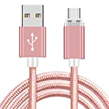 HZHHH Téléphone Mobile Câble De Charge, Le Câble De Données USB C Clignotant Tressé en Nylon Approprié pour L'interface De Type C/Micro Devices (1M),Rose,Type C