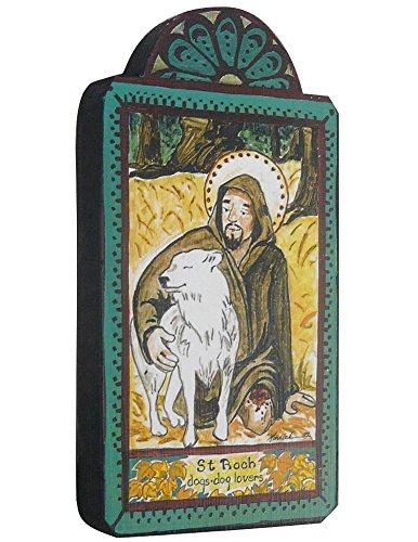 Modern Artisans Saint Roch Patron Saint of Dogs Handmade Retablo Plaque, 3.5 x 6.5 Inches