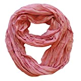 Peach Couture Solid Colors Neon Light Crinkled Infinity Loop Scarf (Dusty Rose)