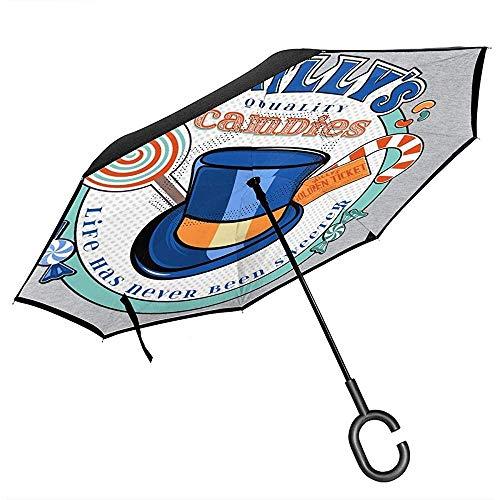 Willy Wonka Willys kwaliteit snoepjes omgekeerde paraplu voor auto vouwen ondersteboven C vorm handen lichtgewicht winddicht ideaal cadeau