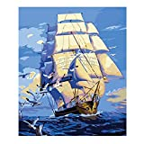 CNstory Niños Adultos DIY Pintura Al Óleo Hecha A Mano Sunrise Ferry Sea Scenery Modern 40x50cm No Frame