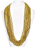 (72 Pack) 33' Inch Round Metallic Mardi Gras Party Necklace Beads (Gold)