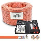 ARLI CAT 7 Verlegekabel 100m Duplex Netzwerkkabel + Werkzeugset Werkzeug Set Crimpzange + LSA Anlegewerkzeug + Tester + Messer Twin Installationskabel Kabel Netzwerk Verkabelung Datenkabel CAT7 Duo