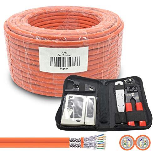 ARLI CAT 7 Verlegekabel 50m Duplex Netzwerkkabel + Werkzeugset Werkzeug Set Crimpzange + LSA Anlegewerkzeug + Tester + Messer Twin Installationskabel Kabel Netzwerk Verkabelung Datenkabel CAT7 Duo