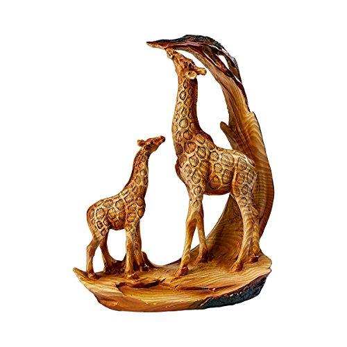 TRI Deko Giraffenfamilie, Deko-Figur Tierfigur Giraffe Mama & Kind, Giraffen & Akazie, detailreiche Holzoptik, Kunststein, 16 x 7 x 19 cm
