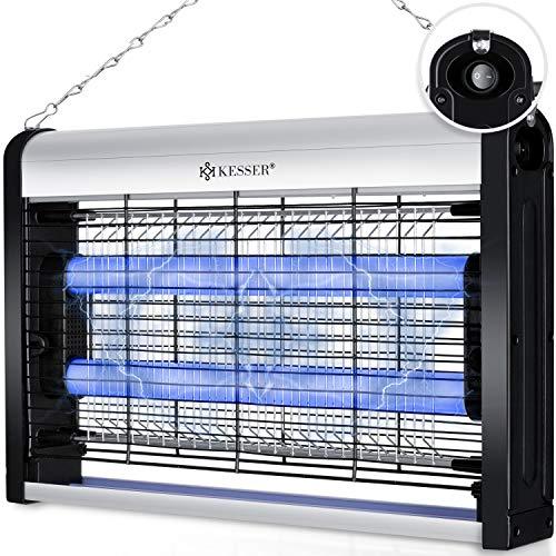 KESSER® Insektenvernichter elektrisch UV LED Insektenfalle Mückenlampe Fliegenfänger Fliegenfalle, 25m² inkl. Kettenaufhängung Insektenkiller für Innenräume, Garten, Terrasse, Restaurant, Silber
