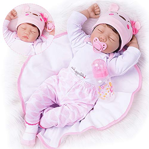 Reborn Baby Doll 22 Inch Lifelike Newborn Gentle-Touch Silicone Vinyl Weighted Body Deluxe Fiber Hair Birthday Gift for 3+