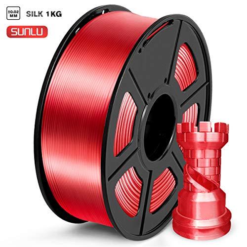 SUNLU Filamento PLA 1.75mm Silk Rojo, lmpresora 3D Filamento PLA 1KG Carrete, PLA Silk Red Filamento