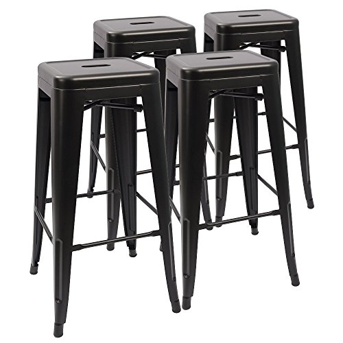Devoko Metal Bar Stool 30'' Tolix Style Indoor/Outdoor Barstool Modern Industrial Backless Light Weight Bar Stools with Square Seat Set of 4 (Deep Black)
