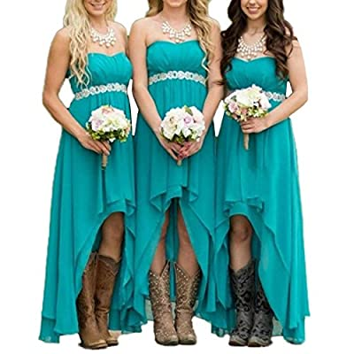 EUMI Chiffon Bridesmaid Dresses High Low Strapless Country Bridal Wedding Party Gowns, Turquoise 2