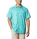 Columbia Super Slack Tide Camp Camisa para Hombre, Hombre, 1653763, Brillante Aqua Marlin Palms Estampado, 6X Big