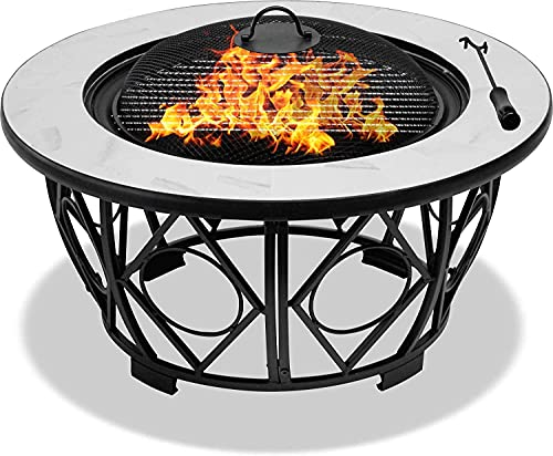 Homeology NAVARO - Calentador de jardín y patio (360°, brasero, mesa de café/barbacoa/cubitera, acabado de cerámica blanco brillante