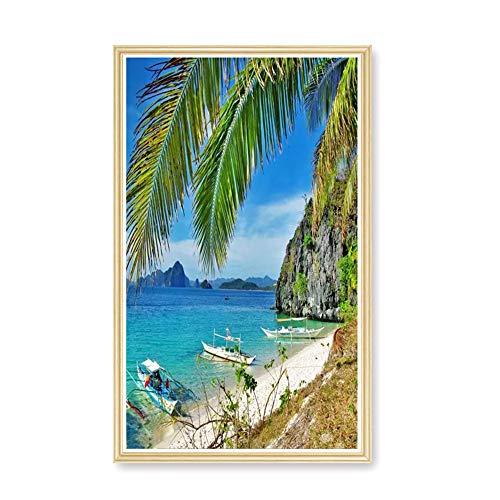 Digital Picture Frames Bilderrahmen Werbemaschine 50-Zoll-HD-Massivholzrahmen LCD-Display Fotoalbum Ausstellungsgalerie elektronischer Fotorahmen