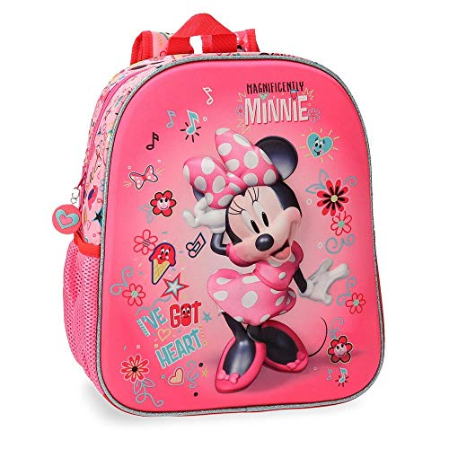 Minnie Stickers Pink Preschool Backpack Front Part In 3D, 33 cm