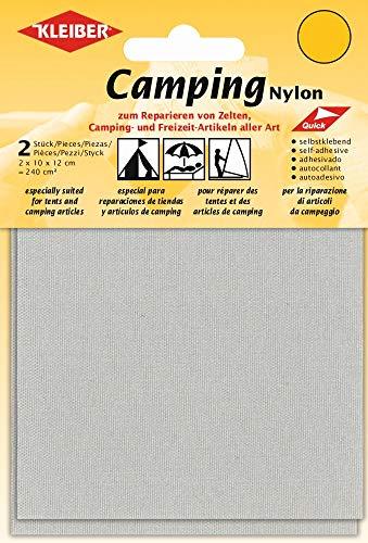 Kleiber Canvas Style Self-Adhesive Waterproof Nylon Repair 2 Patches (10cmx12cm each) -Light Grey, 12 x 10 centimeters