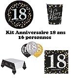 Mgs33 Kit Anniversaire 18, 30 ,40, 50, 60 Ans Complet Table 16 Personnes (16 Assiettes, 16 gobelets, 16 Serviettes, 1 Nappe + 6 Ballons) fête, Or doré argenté Gold Silver Brillant (18 Ans)