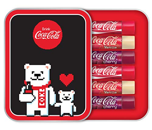 Markwins – Lip Smacker CocaCola Geschenk-Dose mit Bärenmotiv - 6 Lippenpflegestiften in verschiedenen Geschmacksrichtungen