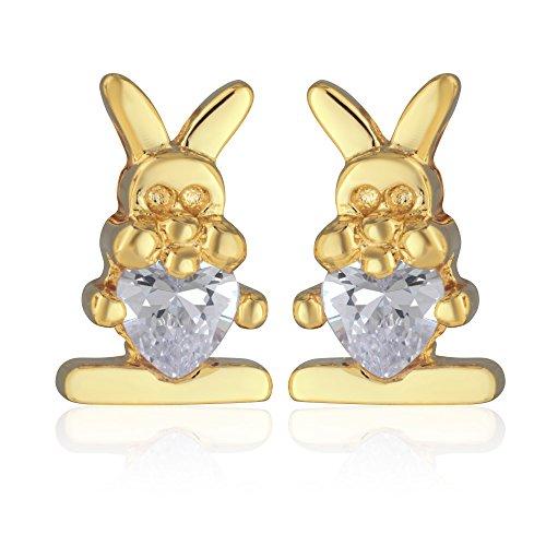 Tata Gisele orecchini bambino in placcato oro e ossido di zirconio–Piccolo Coniglio 10x 6mm