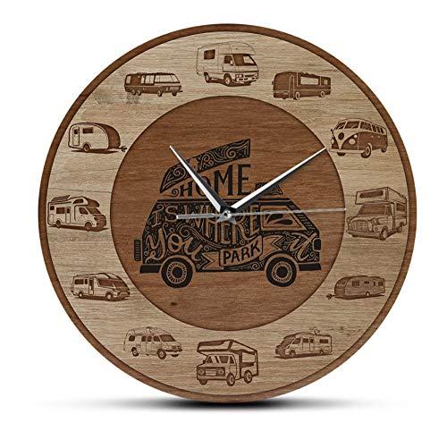 QAZQAZ Reloj de Pared Cocina Moderno El hogar es Donde estacionas RV Vehículos recreativos Textura de Madera Impresión acrílica Reloj de Pared Camper Vans Autocaravana Viajar Arte de Pared