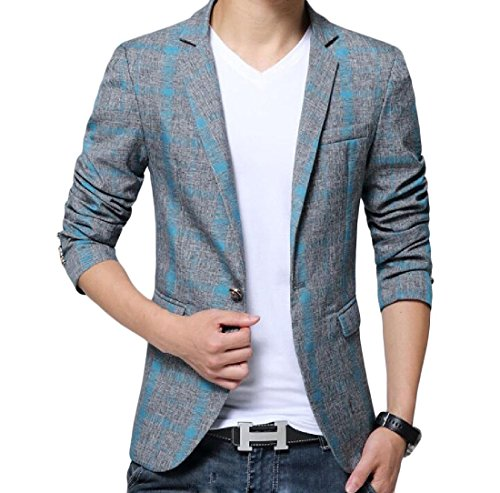 Aooword-men clothes Herren tuxedo blazer rüschen langarm freizeit blazer US X-Large=China 2X-Large Blau