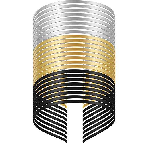 24 Stücke Glatte Metall Stirnband Blank Metall Stirnbänder DIY Handwerk Rahmen Haarband Schlichte Dünne Bulk Stirnbänder für Männer Damen Haarschmuck, Schwarz, Silber, Gold, Einfach Dünn Bulk