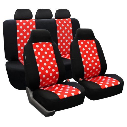 FH Group FB115115 Full Set Polka Dots Car Seat Covers for Car Van and SUV, Red/Black Color with Gift - Fit Most Car, Truck, SUV, or Van