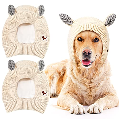 2 Pieces Dog Knitted Hats Pet Quiet Ears Warm Dog Ears Cover Noise Protection Pet Ear Muffs Winter Dog Ear Protection Warm Pet Head Wrap Dog Snood for Protecting Pets Dogs Cats from Noise and Anxiety