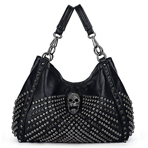 UTO Women Skull Tote Bag Large Capacity Rivet Studded Handbag Smooth PU Leather Purse Shoulder Bags 467 with Wallet Strap