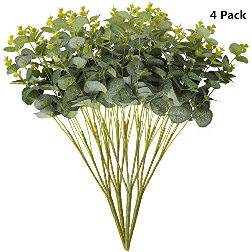 Tifuly 4 PCS künstlicher Eukalyptus verlässt Blumensträuße, 19.7 Zoll gefälschte Eukalyptus-Blatt Silke-Grünpflanzen für Hauptpartei-Hochzeits-Weihnachtsdekoration, Mittelstücke