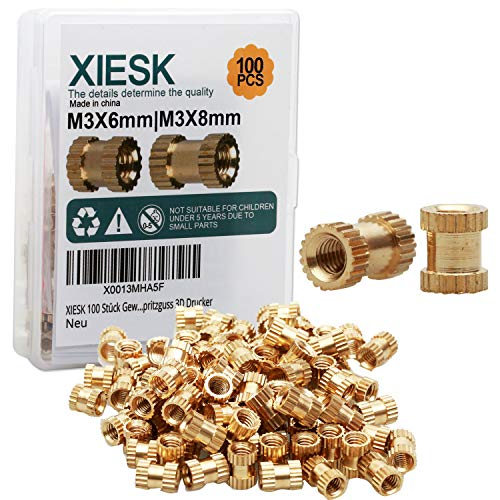 XIESK Female Thread Knurled Nuts M3 | M3X6 M3X8 Brass Thread Insert Embedment Nut ; for 3D Printing Injection Moulded Plastic Parts (100pcs)