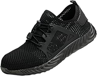 Homyl Work Steel Toe Shoes Safety Shoes for Men and Women Lightweight Industrial & Construction Shoe - Black 9