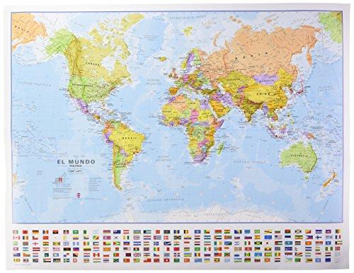 Mapa mural del Mundo castellano con banderas (68x53 cm) escala 1:60.000.000. Maps International.