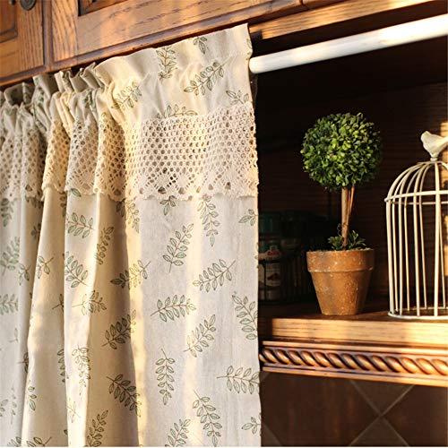 HRYJ Baumwolle und Leinen Vorhang Nordischer halber Behang Mediterraner Gardine Kleiner Fenstergardine Türvorhang tragen Fensterdekoration 140 x 70 cm (55 x 28 Zoll)
