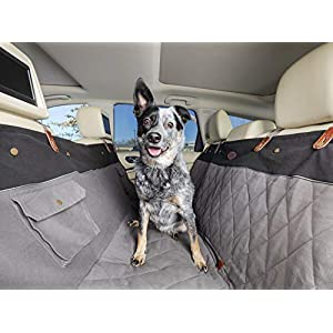 PetSafe Happy Ride Quilted Hammock Seat Cover for Dogs and Pets – Fits Cars, Trucks, Minivans and SUVs – Padded Cotton Fabric – Durable Vehicle Seat Protector – Grey