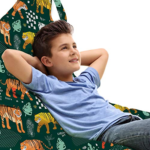 ABAKUHAUS Tigres Jouet Sac de Rangement Chaise Lounge, Jungle Animals Forest Life, Stockage pour Animal en Peluche à Haute Capacité avec Poignées, Multicolor Vert Chasseur