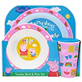 Peppa Pig Perfect Day Kids Tableware 3 Piece Reusable PP Plate, Bowl & Cup Children – Peppa, George Tumbler & Dinnerware Set for Mealtimes – for 24 Months & Up, Re-usable Plastic, Pink