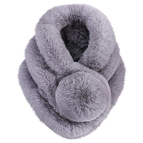 KPILP Frauen Fellimitat Gras Schals Warme Schal Mode Neue Winter Elegante Nette Pashminas Umhang,Grau