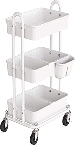 lowest Simple Houseware 3-Tier Kitchen Cart sale Multifunctional Rolling outlet sale Utility Cart with 2 dividers and Hanging Bucket, White outlet online sale