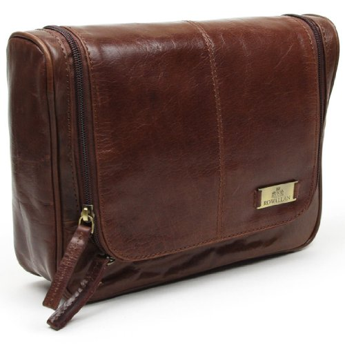 Rowallan of Scotland-Verona-Beauty case da uomo, In pelle, da appendere a 7422, colore: cognac