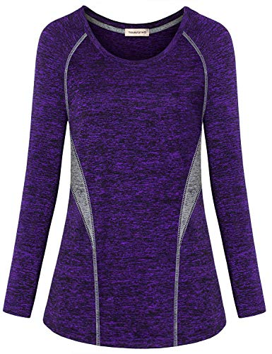 Yakestyle Women's Athletic Long Sleeve Workout Running Tops Yoga Tunics Stretchy Exercise Hiking Tee Shirts Color Block Sport Wear Fitness Activewear is $12.99 (54% off)