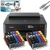 Canon PIXMA TS705 Tintenstrahldrucker schwarz + USB Kabel & 10 komp. ink24 Druckerpatronen (Drucken per USB oder WLAN) - Originalpatronen ausdrücklich Nicht im Lieferumfang!
