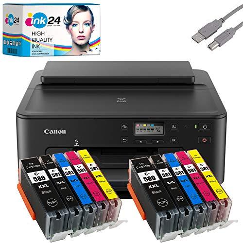 Canon PIXMA TS705 Tintenstrahldrucker schwarz (mit WLAN) + USB Kabel & 10 kompatible Druckerpatronen der Marke ink24 - Originalpatronen Nicht im Lieferumfang! Keine Scan-Funktion!